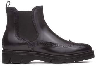 Santoni Black Leather Ankle Boots