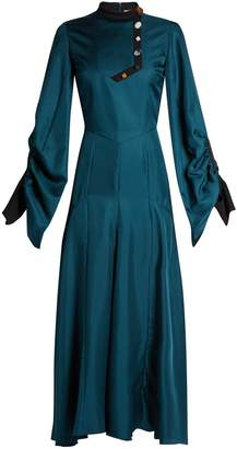Roksanda Omari high-neck ruched-sleeve silk-twill dress
