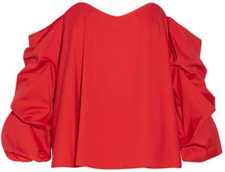 Caroline Constas Gabriella Off-the-shoulder Cotton-blend Poplin Top - Red