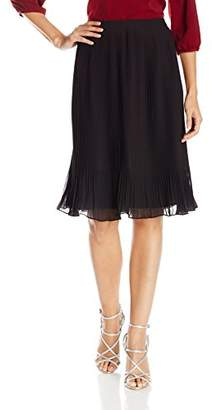 Lark & Ro Women's Pleated Chiffon Knee Length Skirt