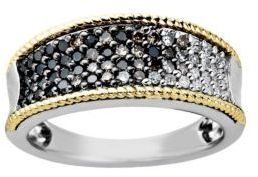 Lord & Taylor Diamond Ring in Sterling Silver with 14 Kt. Yellow Gold, .50ct. t.w.
