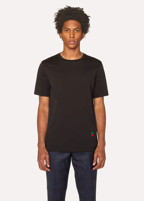Paul Smith Men's Black T-Shirt With Cherry Motif