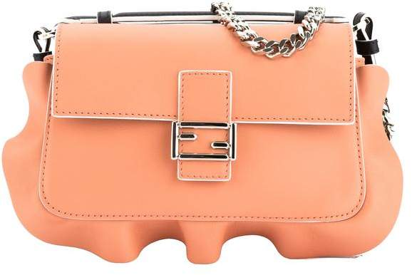 Black and Peach Leather Double Micro Ruffled Baguette Bag