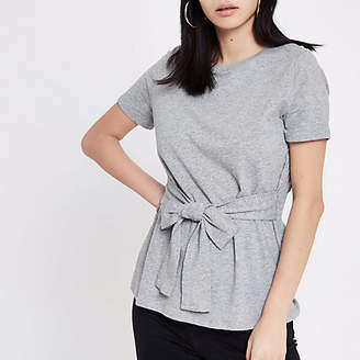 River Island Grey fitted tie front T-shirt