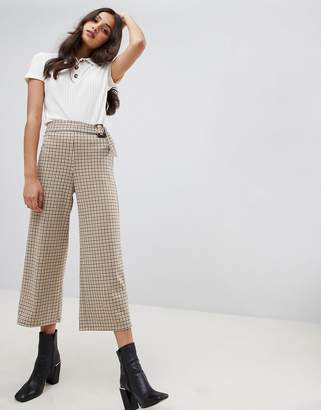 Miss Selfridge cropped wide leg pants in yellow check