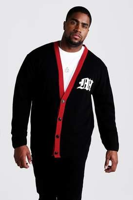 boohoo Big & Tall Gothic M Knitted Varsity Cardigan