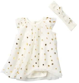 Baby Starters Foil Hearts Bodysuit Dress & Headband Set (Baby Girls)