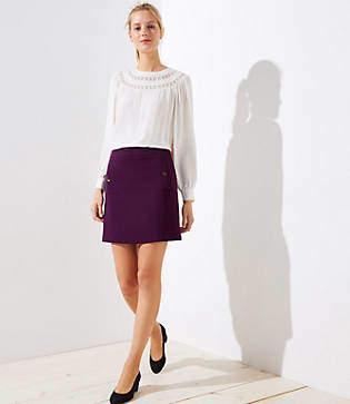 LOFT Petite Button Pocket Shift Skirt