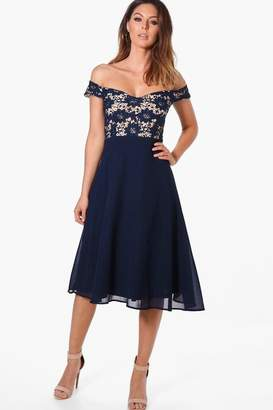 boohoo Lace Chiffon Off Shoulder Midi Dress