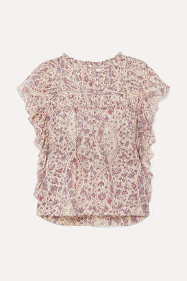 Etoile Isabel Marant Layona Ruffled Pintucked Floral-print Cotton-voile Blouse - Ecru