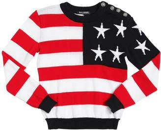 Balmain American Flag Cotton Sweater