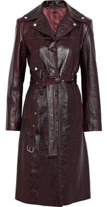 Helmut Lang Belted Textured-Leather Coat