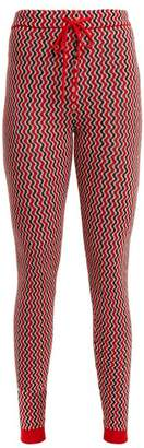 Perfect Moment - Frequency Zigzag Intarsia Slim Leg Wool Trousers - Womens - Red Multi