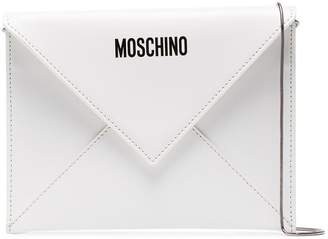 Moschino White Be Mine Eco Leather Envelope Clutch
