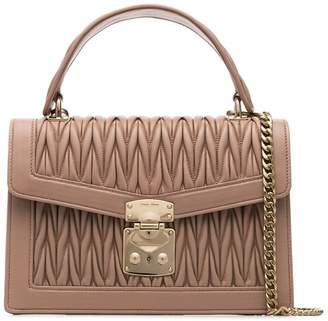 Miu Miu nude Matelasse top handle quilted leather shoulder bag
