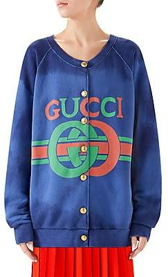 Gucci Women's Heavy Felted Button-Front Jersey Sweatshirt