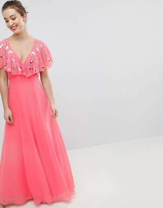 Asos Design DESIGN Wrap Maxi Dress With Embellished Flutter Sleeves