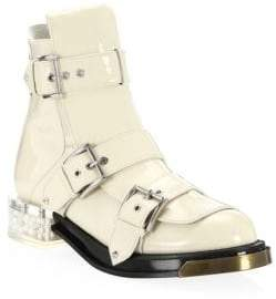 Alexander McQueen Embellished-Heel Patent Leather Booties