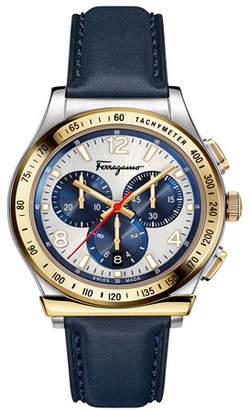 Salvatore Ferragamo Men's 1898 Chronograph Watch with Leather Strap, Silver/Gold/Blue