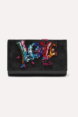 Christian Louboutin Paloma Embellished Suede And Textured-leather Clutch - Black