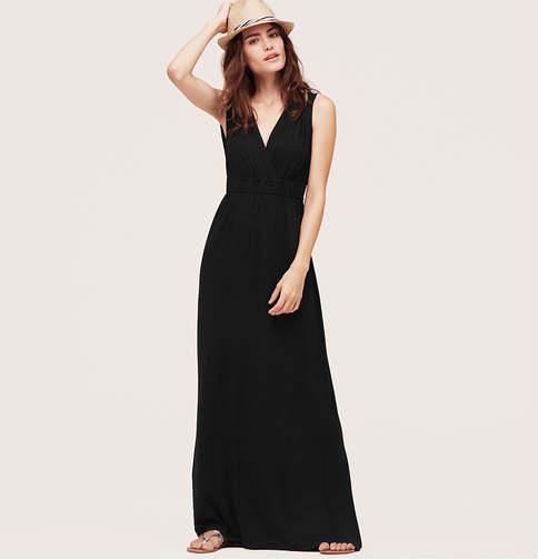 LOFT Beach Shirred V-Neck Maxi Dress