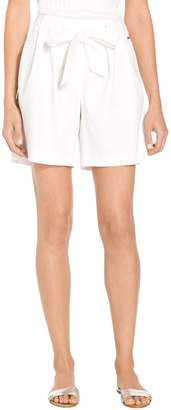 St. John Stretch Linen Twill Pull On Tie Front Shorts