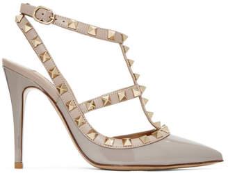 Valentino Grey Garavani Patent Rockstud Cage Heels