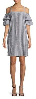Gabby Skye Stripe-Print Cold-Shoulder Cotton Dress