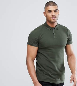 Asos Design DESIGN Tall pique polo in green