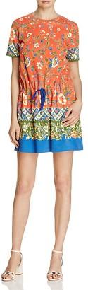 Tory Burch Jessie Printed Drawstring Tee Dress $225 thestylecure.com