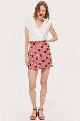 Topshop Tall Poppy Print Jacquard Mini Skirt