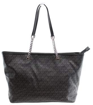 Michael Kors NEW Black PVC Logo Jet Set Travel Chain Tote Bag Purse