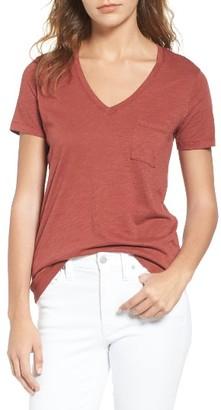 Women's Madewell 'Whisper' Cotton V-Neck Pocket Tee $15.60 thestylecure.com