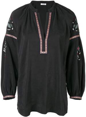 Vilshenko v-neck embroidered kaftan