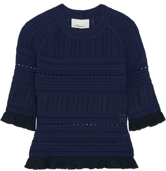 3.1 Phillip Lim - Ruffled Pointelle-knit Sweater - Midnight blue $395 thestylecure.com