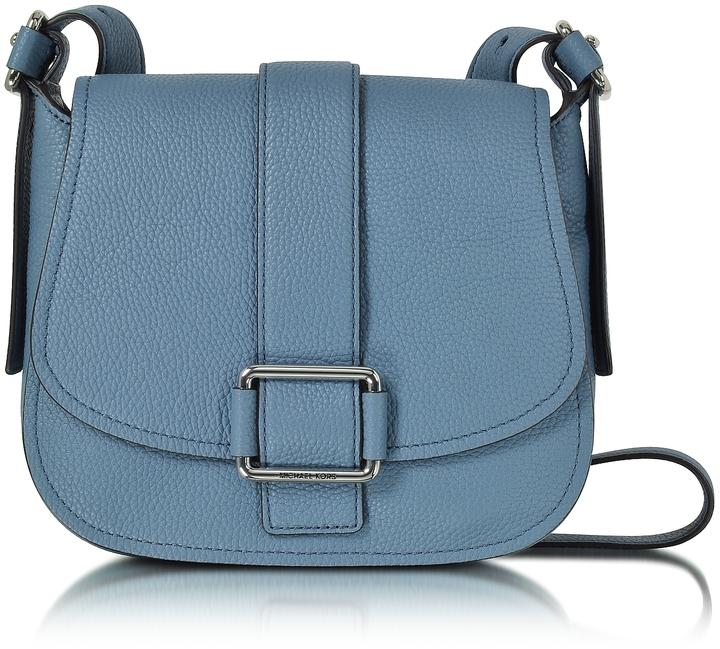 MICHAEL Michael KorsMichael Kors Maxine Large Denim Leather Saddle Bag