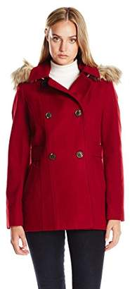 Nautica Women's Mid-Length Peacoat with Faux Fur Hood $159.99 thestylecure.com