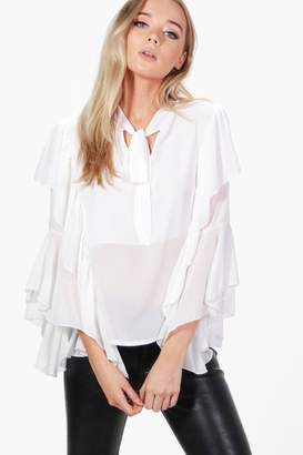boohoo Eva Tie Neck Frill Sleeve Tailored Blouse $32 thestylecure.com