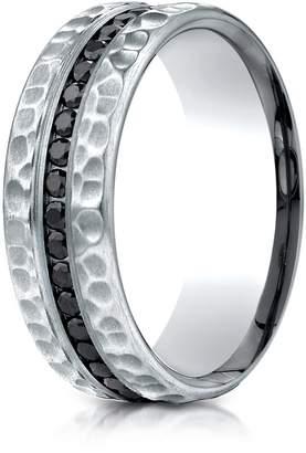 Black Diamond Banvari Benchmark 14K White Gold 7.5mm Hammered Finish Pave-set Comfort-Fit Wedding Band Ring (.40Ct.),Size 9.5