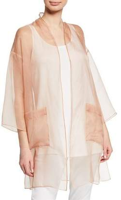 Eileen Fisher Plus Size Washed Silk Organza Kimono