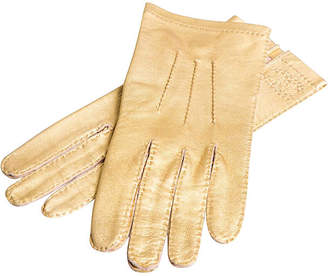One Kings Lane Vintage Chanel Gold Lambskin Gloves - Vintage Lux