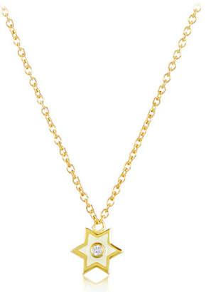 Amrapali Legend 18k Gold Mini Enamel Icon Star Pendant Necklace w/ Diamond, White