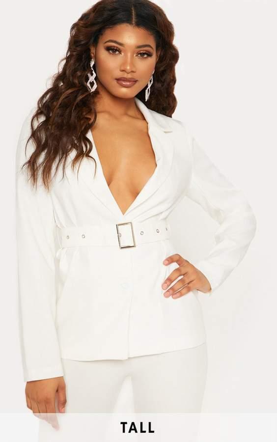 Tall White Belted Blazer