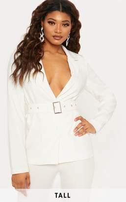 PrettyLittleThing Tall White Belted Blazer