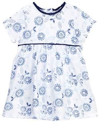 Offspring Indigo Flowers Popover Bodysuit Dress (Baby Girls)