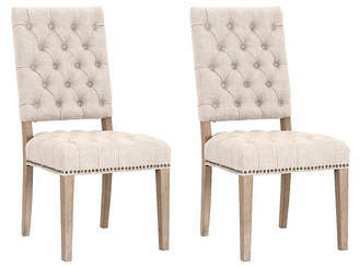 One Kings Lane Set of 2 Marlow Side Chairs - Bisque Linen