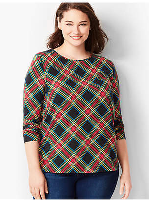 Talbots Plus Size Cotton Crewneck Tee - Festive Plaid