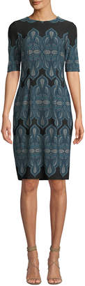 London Times Leaf-Print Half-Sleeve Sheath Dress