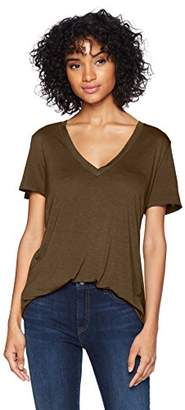 Three Dots Women's Vintage Jersey v-Neck Short Loose top