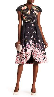 Ted Baker Peach Blossom Pleated Fit & Flare Dress